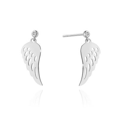 Srebrne skrzydła z diamentem - kolczyki