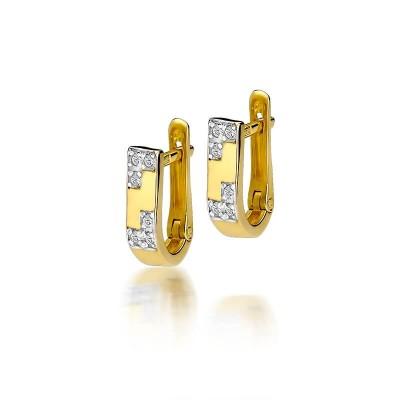 Złote kolczyki brylanty