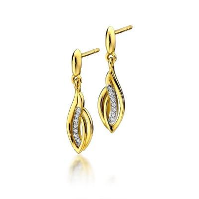 Kolczyki złote z brylantami oliwki