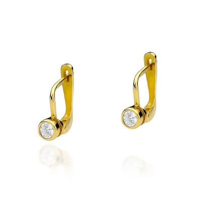 Złote kolczyki z diamentami i oryginalną dedykacją