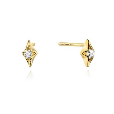 Kolczyki złote diamenty gwiazdka