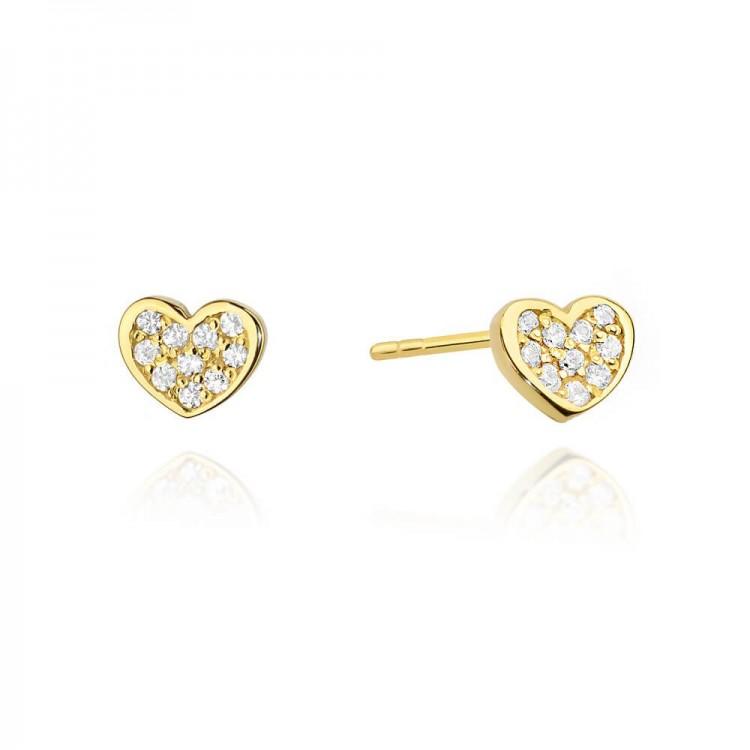 kolczyki złote upominek - serca z diamentami