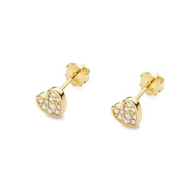 kolczyki złote wkręty - serca z diamentami