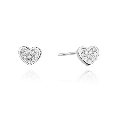 Diamenty kolczyki upominek - serca z diamentami