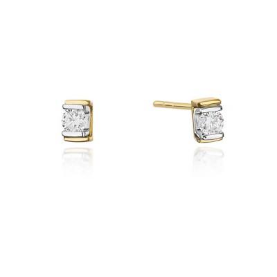 Kolczyki złote z diamentami prostokąt