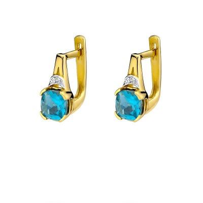 Biżuteria złote kolczyki z brylantami i topazami