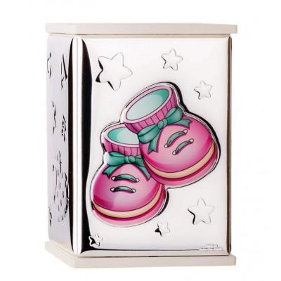 skarbonka z różowymi bucikami