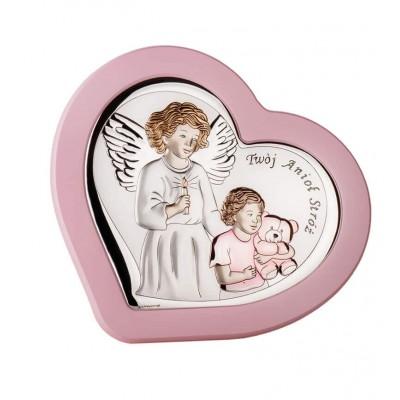 Obrazek srebrny Twój Anioł Stróż - Różowa ramka
