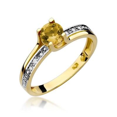 Pierścionek z Cytrynem w złocie żółtym