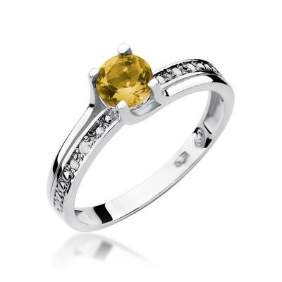 Pierścionek z Cytrynem w złocie białym