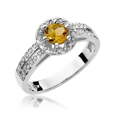 Pierścionek białe złoto z cytrynem brylantami prezent