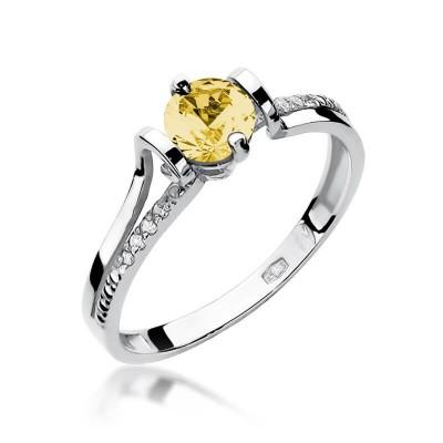 Pierścionek białe złoto z cytrynem