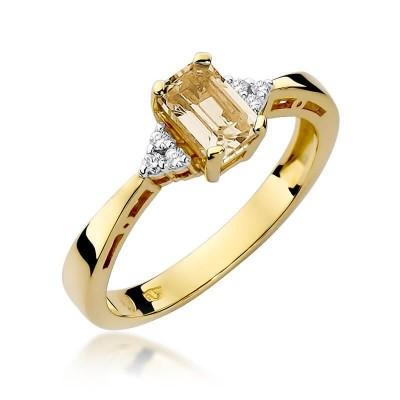 Pierścionek z cytrynem 0,60ct i żółtym złocie