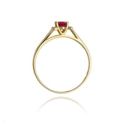 Niskie ceny pierścionek z brylantami i rubinem żółte złoto SB-W-5