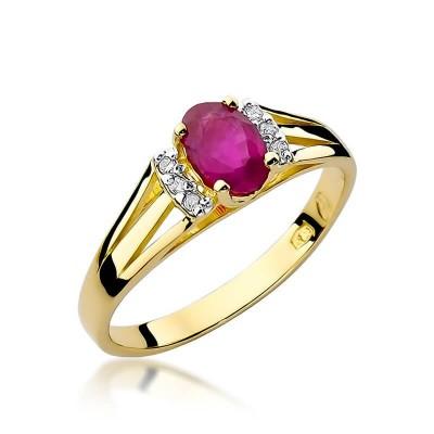 Niskie ceny pierścionek z brylantami i rubinem żółte złoto