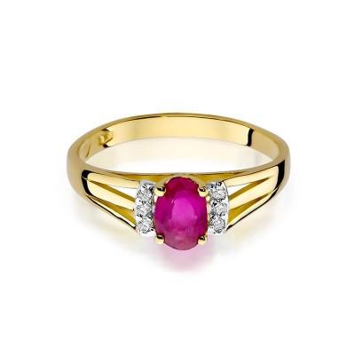 Niskie ceny pierścionek z brylantami i rubinem żółte złoto 585