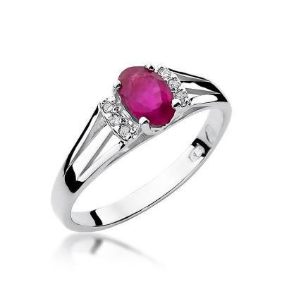 Niskie ceny pierścionek z brylantami i rubinem białe złoto