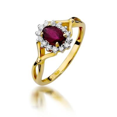 Pierścionek z żółtego złota rubin i brylanty