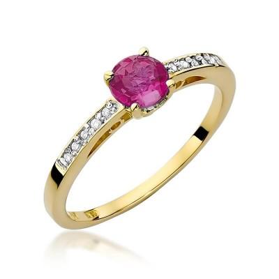 Rubin pierścionek z brylantami złoty prezent