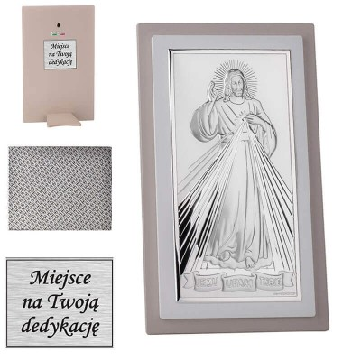 Srebrny obrazek Jezus Miłosierny - pamiątka