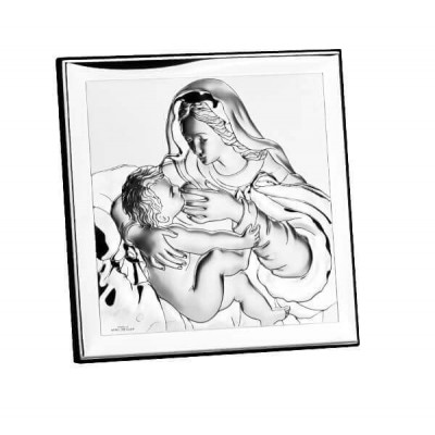 Matka Boska Karmiąca Syna srebrny obrazek