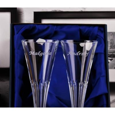kryształowe kieliszki do szampana z grawerem