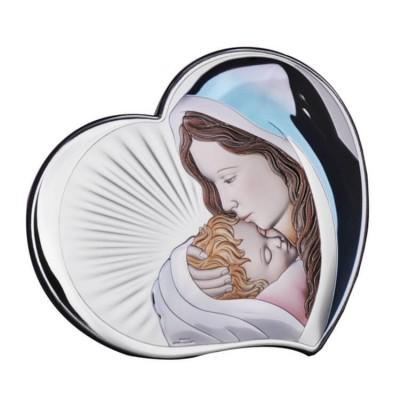 Obrazek srebrny kolorowy Pocałunek Matki