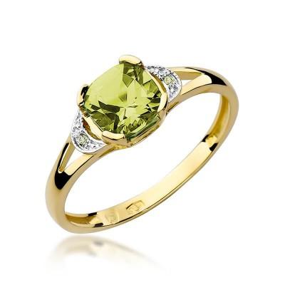 Złote pierścionki z oliwinem i brylantami