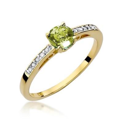 Złoty pierścionek z oliwinem upominek