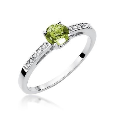 Białe złoto pierścionek z oliwinem na zaręczyny