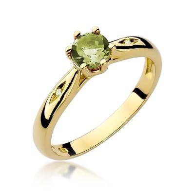 Złote pierścionki z oliwinem