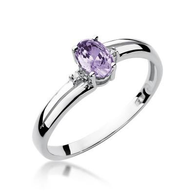 Srebrny pierścionek z tanzanitem i brylantami