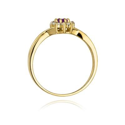 Pierścionek z ametystem żółte złoto