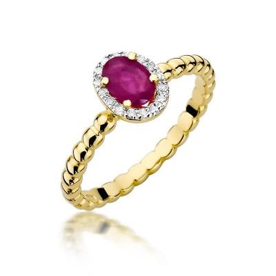 Pierścionek z_rubinem i brylantami żółte złoto