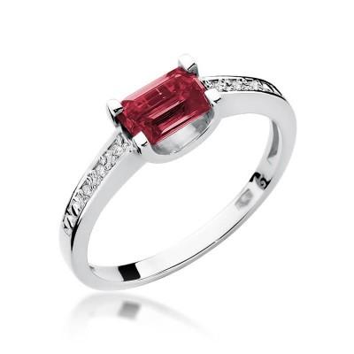 Pierścionek z rubinem prezent dla żony biżuteria z białego złota