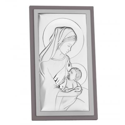 Matka Boska Karmiąca - srebrny obrazek