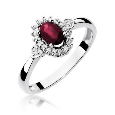 Brylanty-rubin pierścionek z białego złota dedykacja