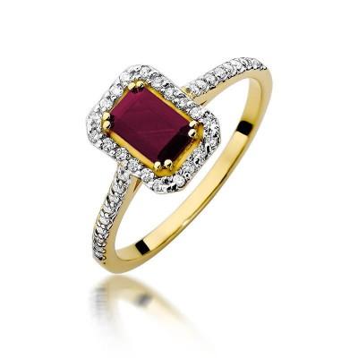 Pierścionek z brylantami i rubinem złoty