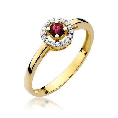 Oczko rubinowe pierścionek z żółtego złota