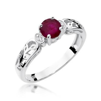 Pierścionek zaręczynowy rubin z brylantami. Białe złoto 585