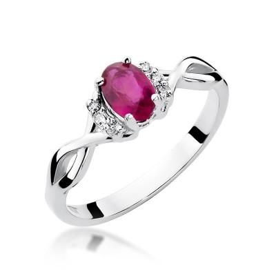 Brylanty z rubinem pierścionek z białego złota - kryształowa rocznica ślubu