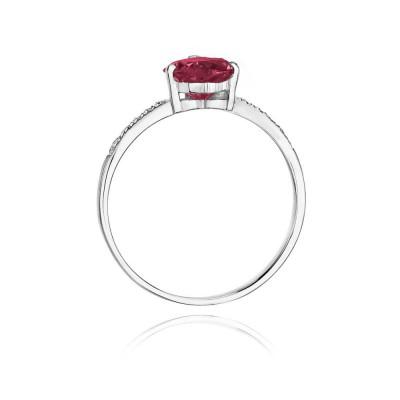 Pierścionek z dużym rubinowym sercem białe złoto dla ukochanej