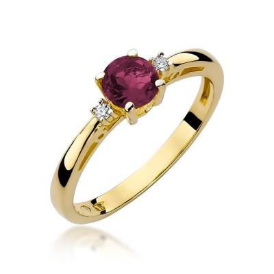 Złoty pierścionek rubinem jubileusz