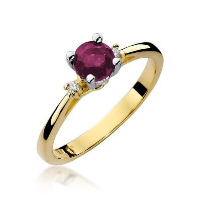 Rubin pierścionek z żółtego złota dla dziewczyny
