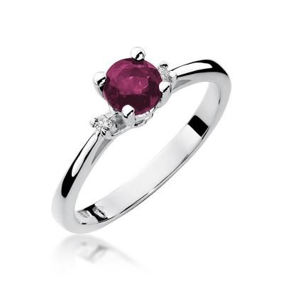Rubin pierścionek z białego złota. Dedykacja
