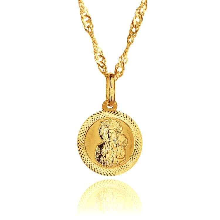 Medalik złoty. Komplet na prezent.
