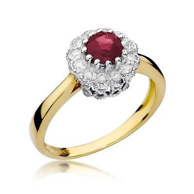Pierścionek zaręczynowy rubin i brylanty