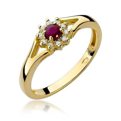 Rubinowe oczko pierścionek z żółtego złota