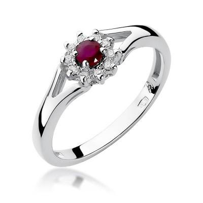 Rubinowe oczko pierścionek z białego złota