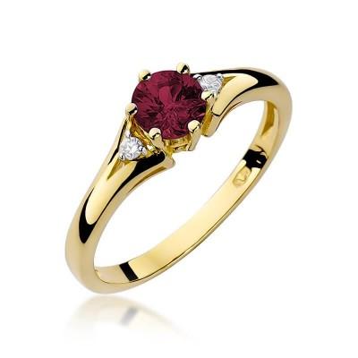 Pierścionek zaręczynowy z rubinem. Biżuteria złota